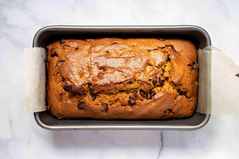 baked pumpkin bread in a bread pan