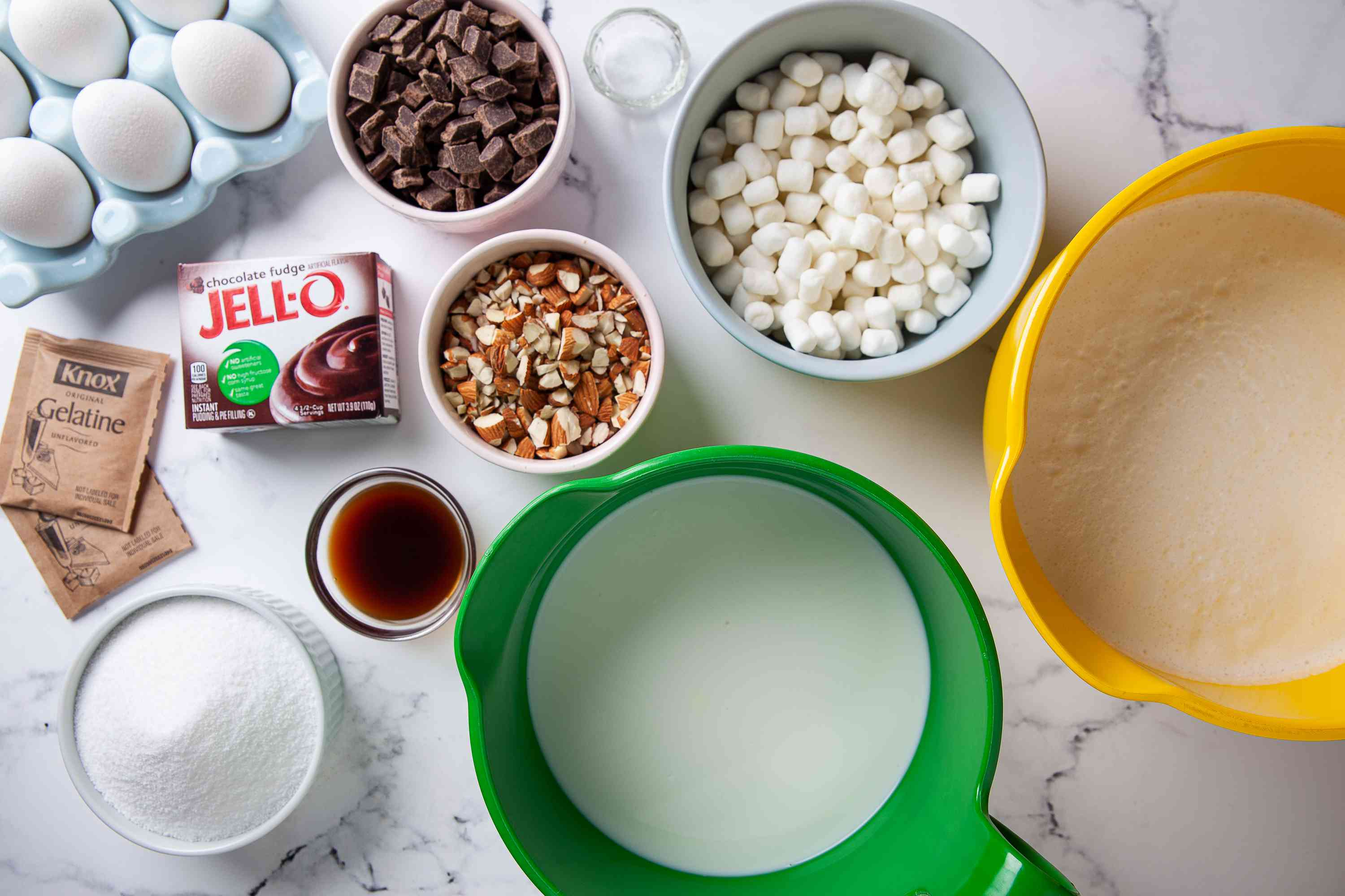 Gather the ingredients for Rocky Road Ice Cream