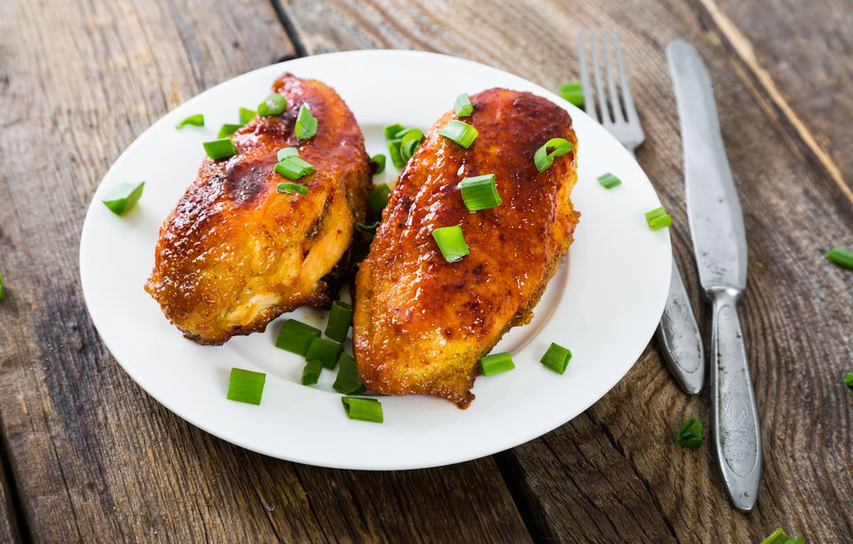chicken breast with glaze