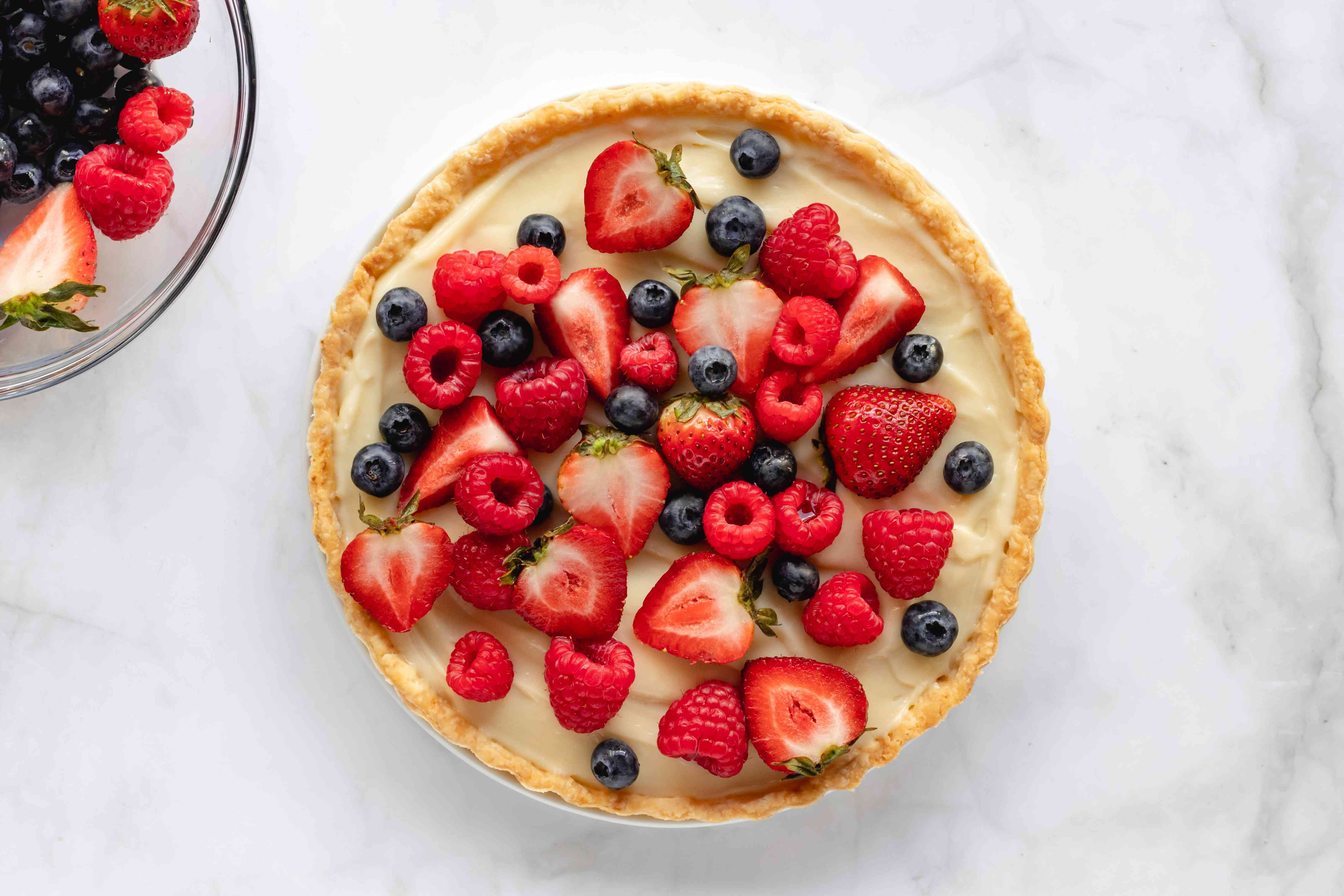 fruit tart with custard topped with fresh fruit
