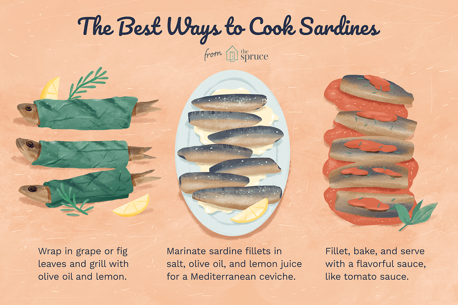 illustration that shows the three best ways to cook sardines