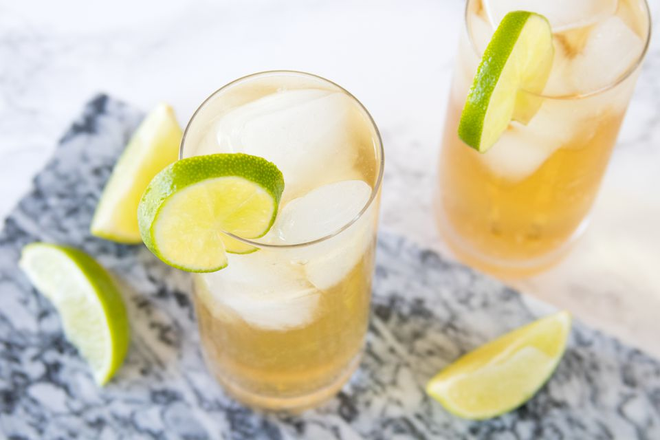 Tequila Soda Cocktail With Lime Wheels