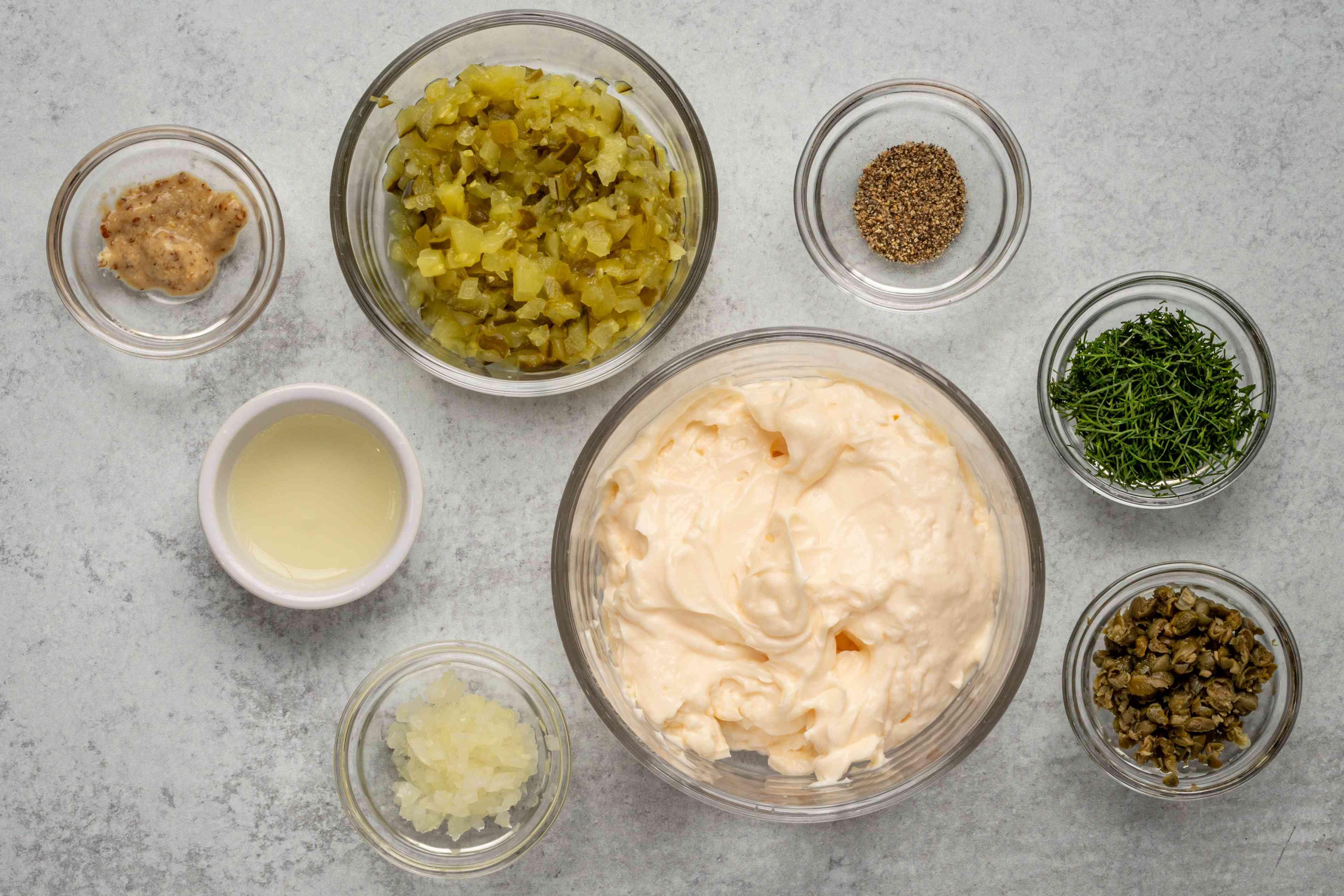 Ingredients for homemade tartar sauce