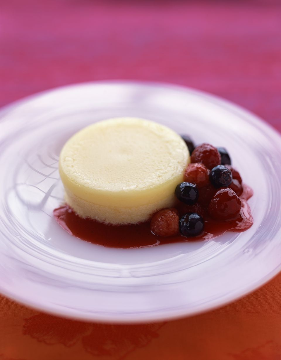 Lemon parfait with berry compote