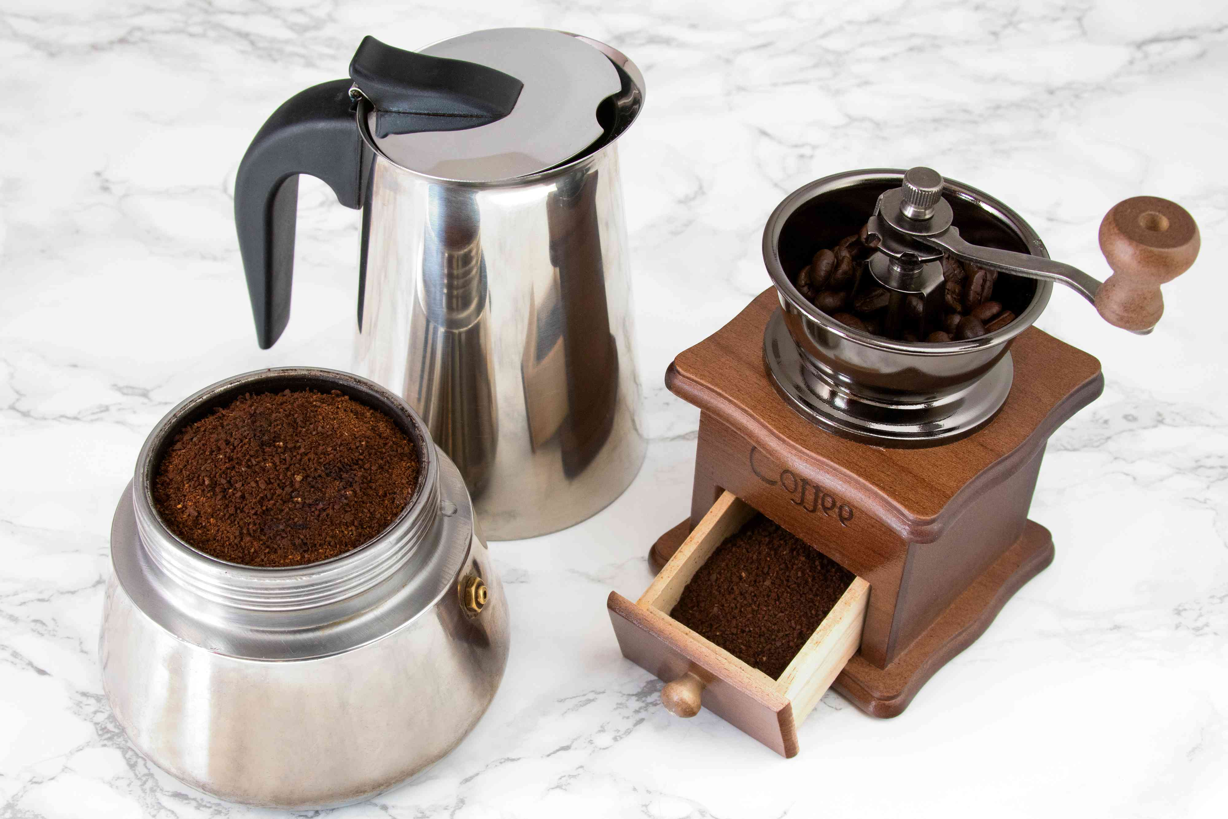 Brewing Coffee in a Stovetop Espresso Maker for Cuban Coffee