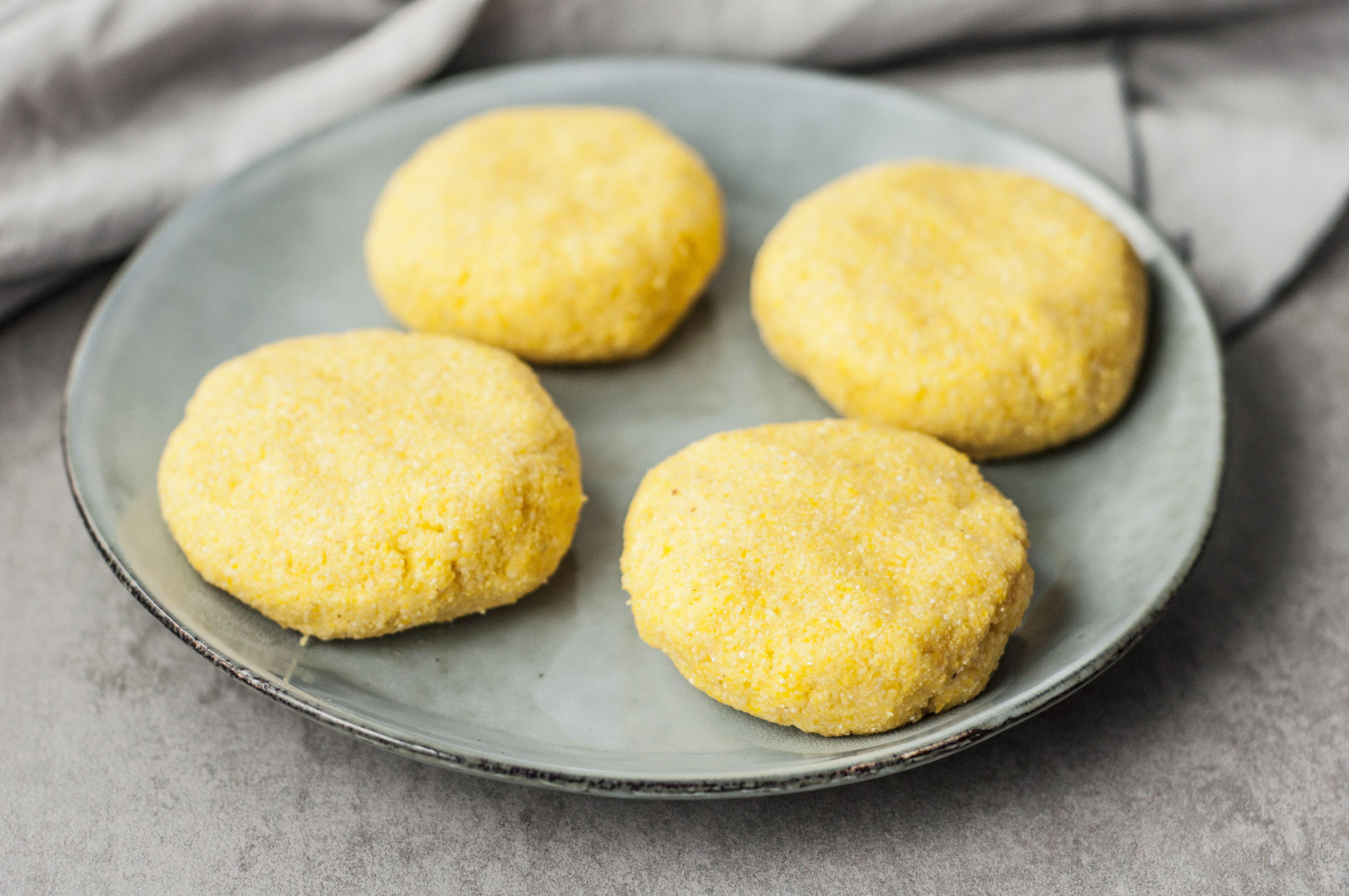 Four cornbread patties, 3/4 inches thick