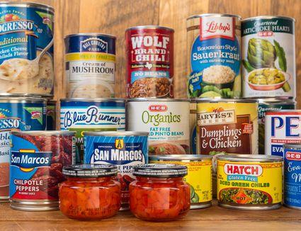 Canned foods on a shelf