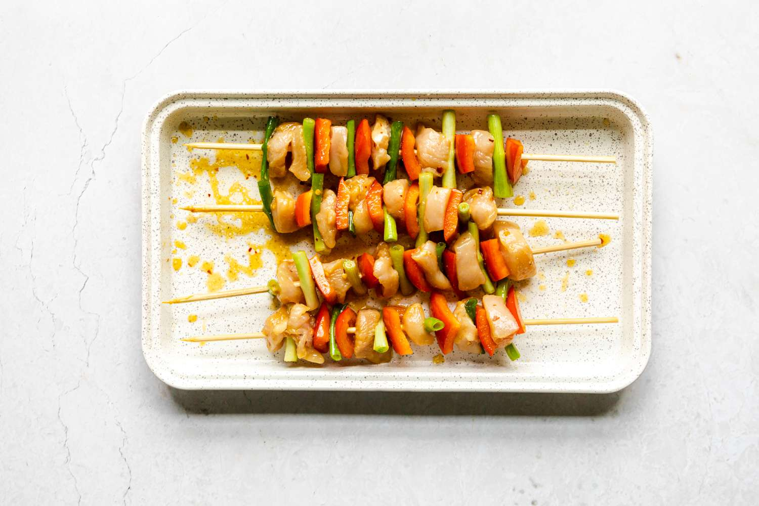 Chicken Kabobs for Kids assembled on a baking dish