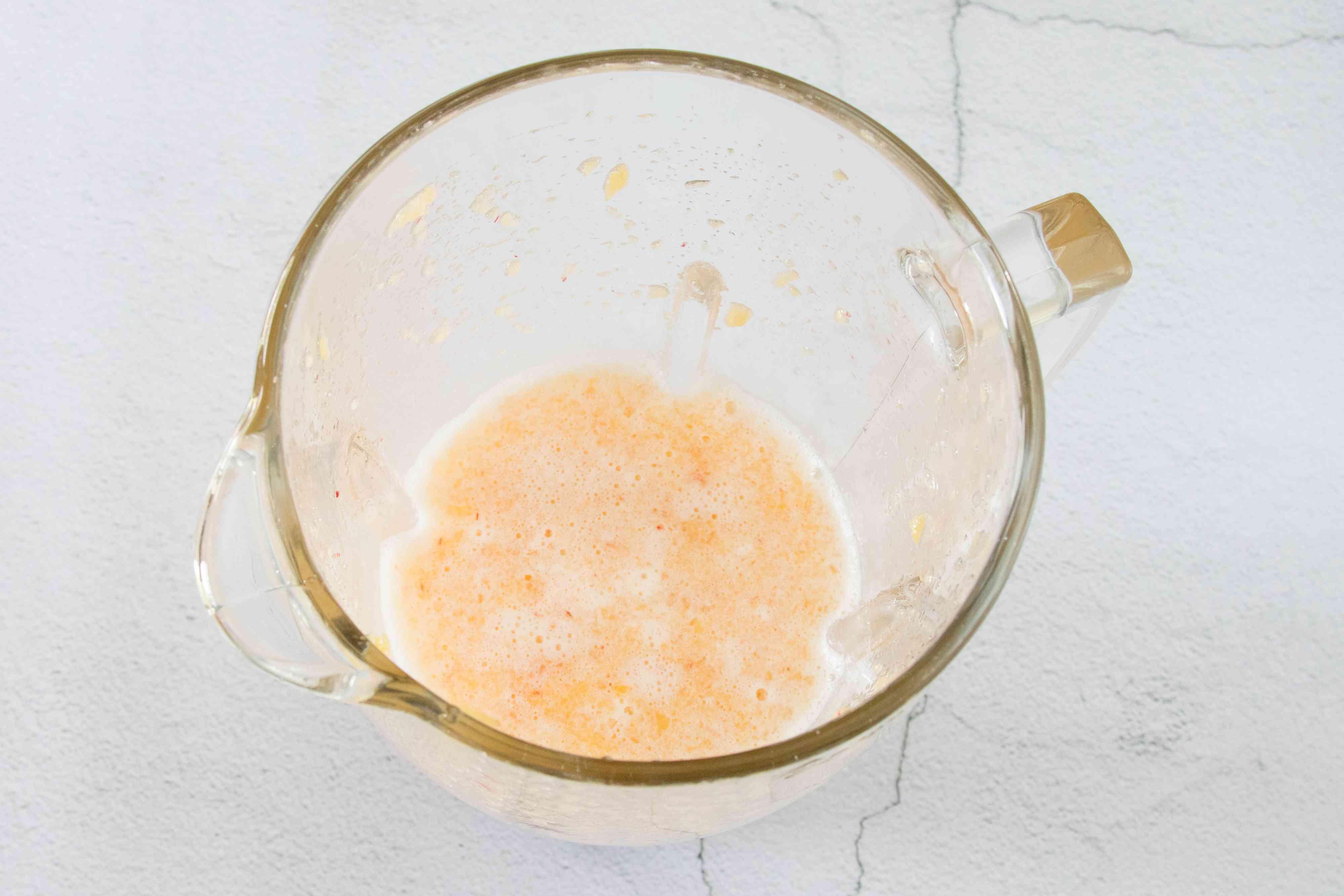 Blended Peach Margarita in blender