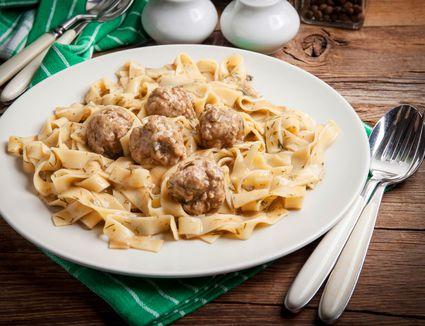 Meatballs and fettucini