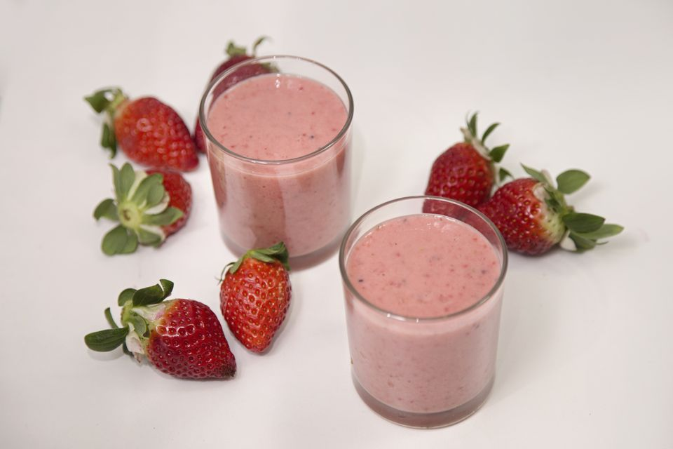 Homemade strawberry milkshake