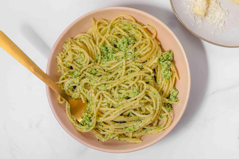 Creamy broccoli pasta in a bowl