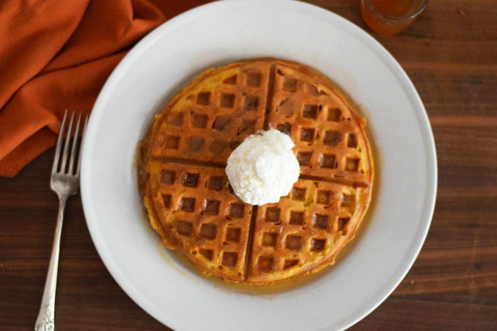 Pumpkin Waffles With Cinnamon Caramel Syrup