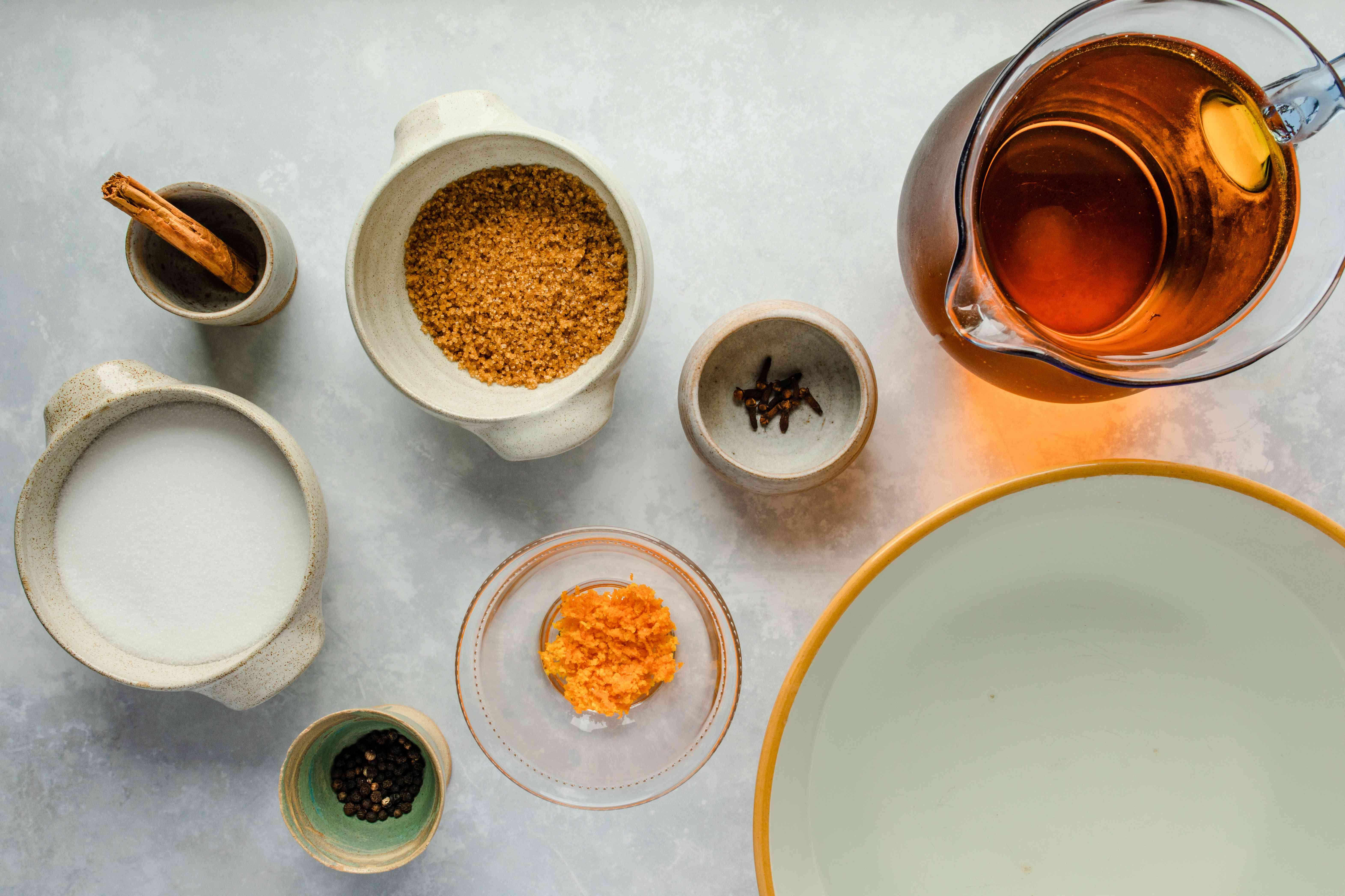 Ingredients for turkey juice brine