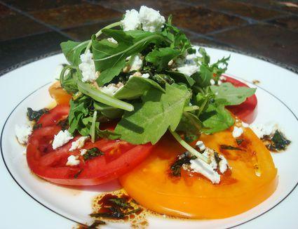 Heirloom tomato, goat cheese, and arugula salad