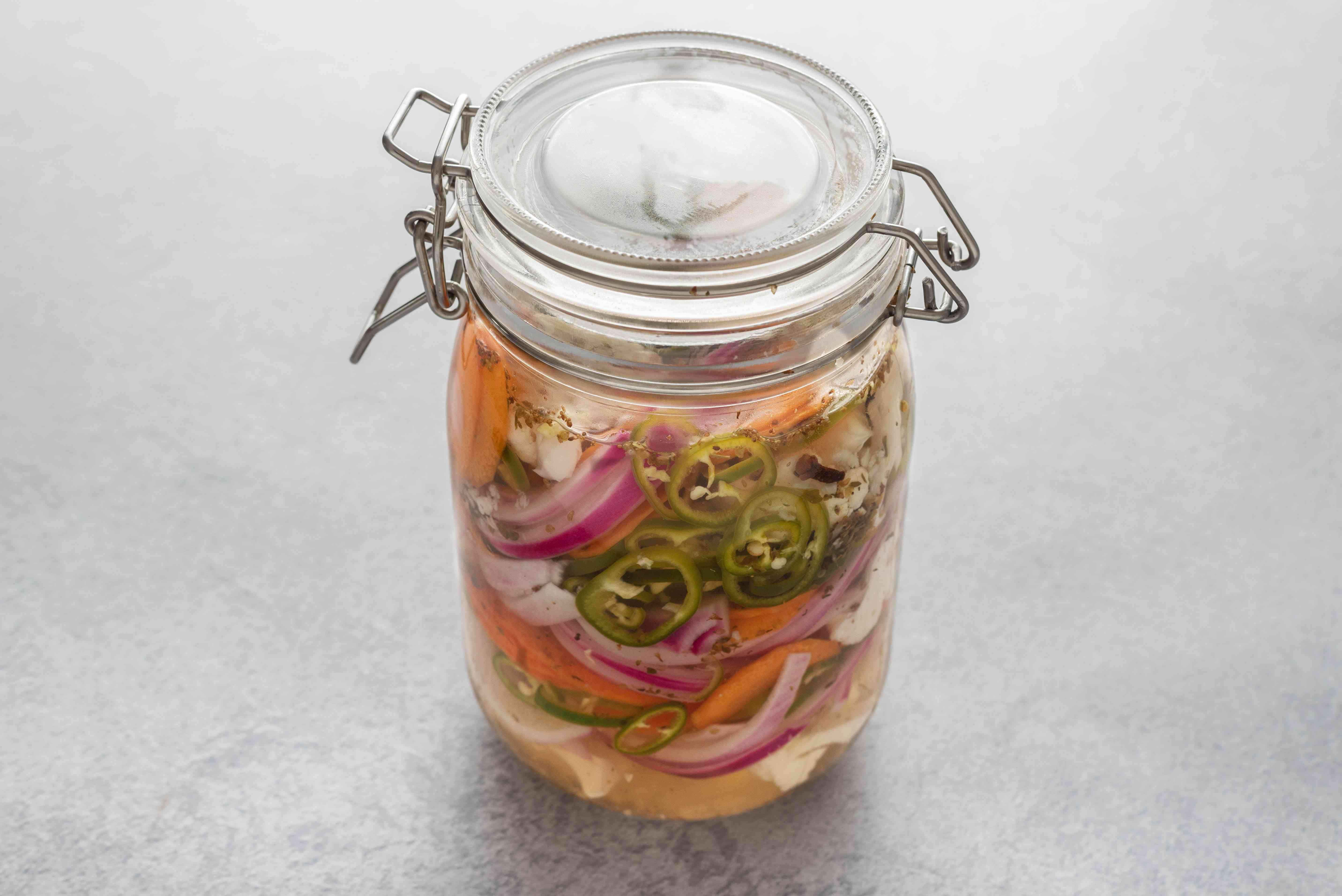 Pickled Cauliflower, Carrots, and Jalapenos (Escabeche) in a jar