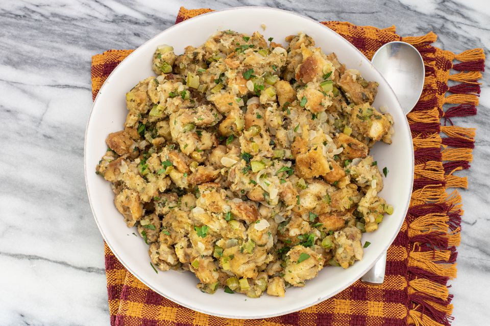 instant pot stuffing in serving bowl