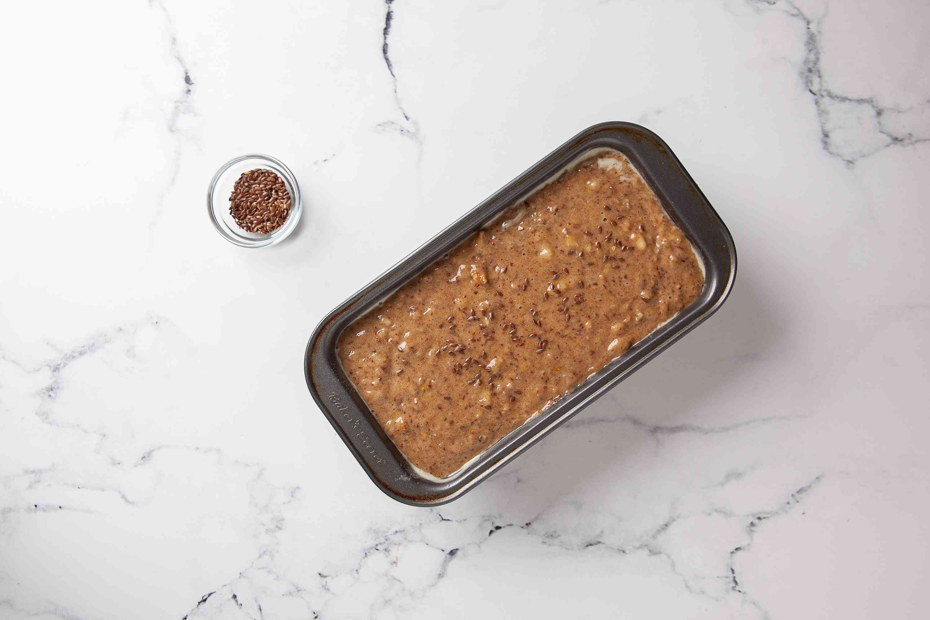 Sprinkle with flaxseeds and bake