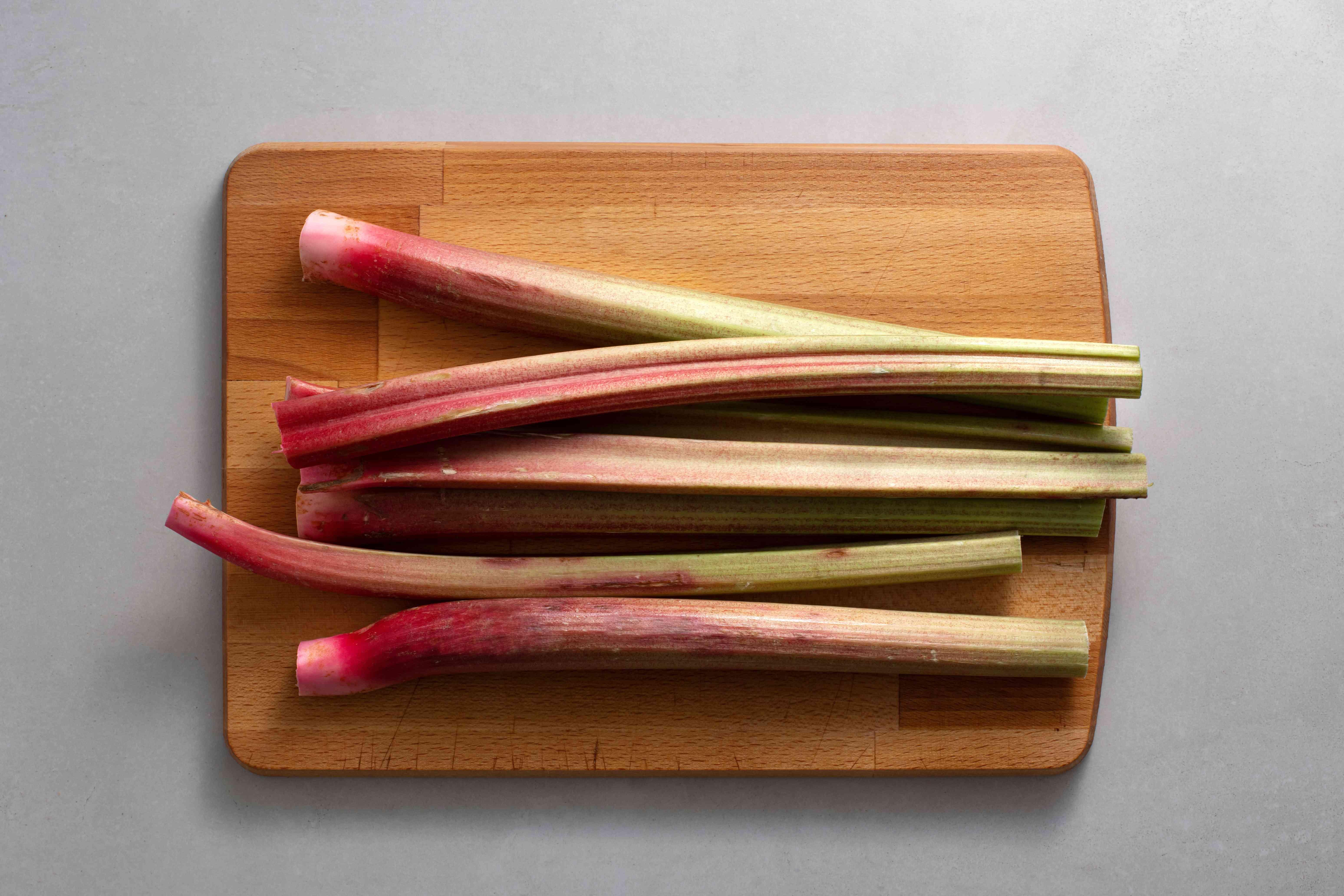 Trim and rinse rhubarb stalks