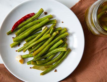 Pickled Green Beans recipe, on a white plate