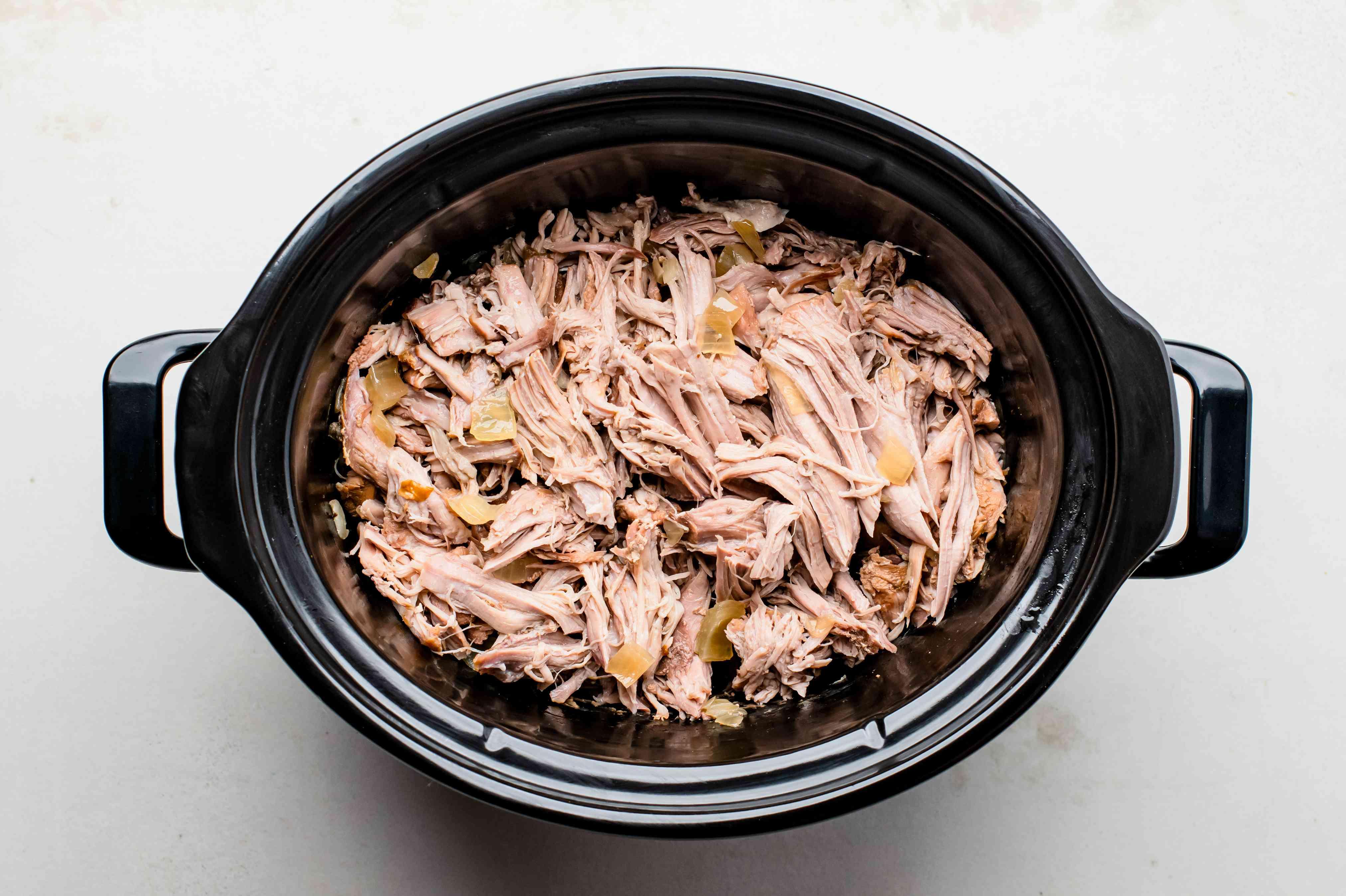 Shredded pork in crock pot