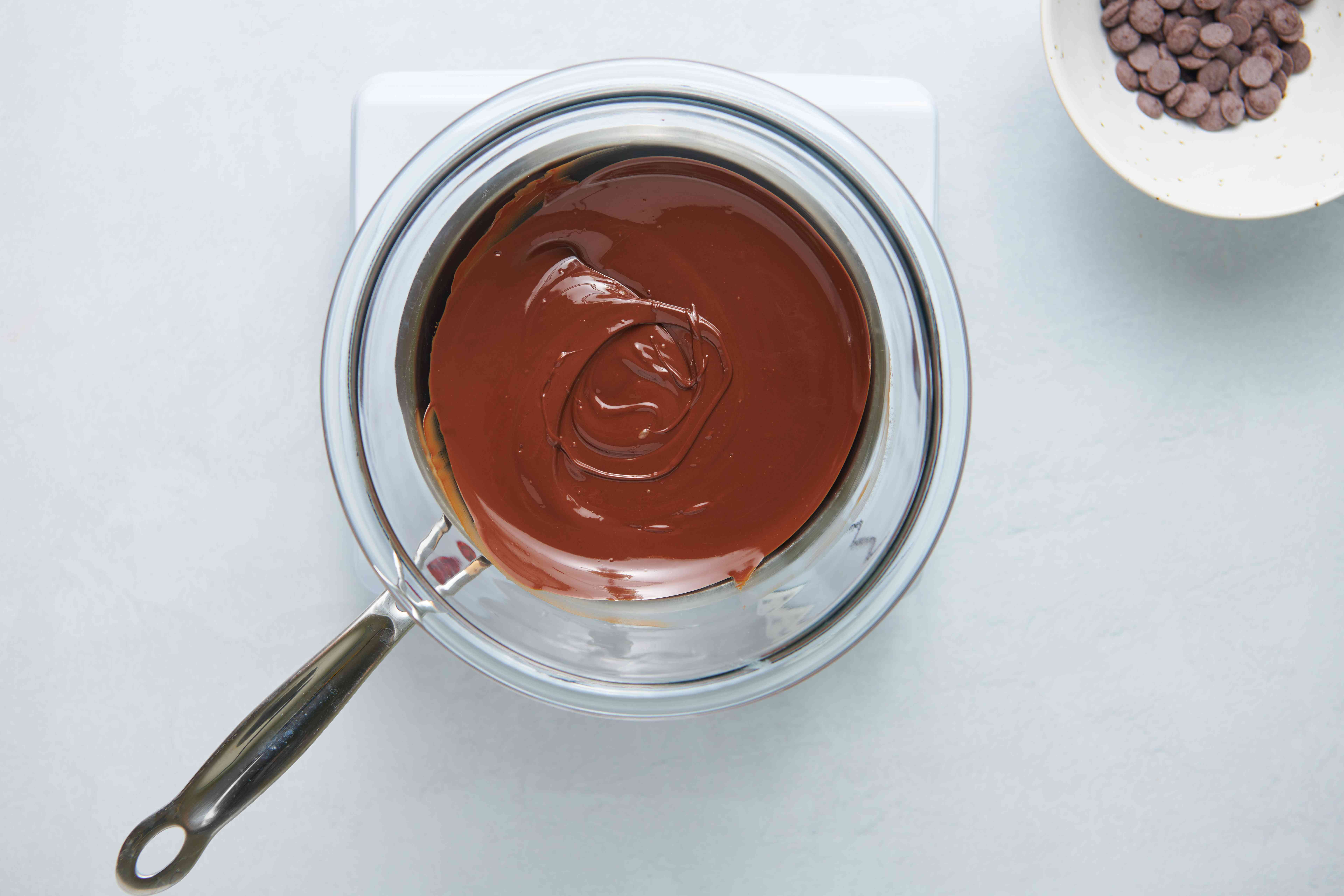 melted chocolate in a double boiler