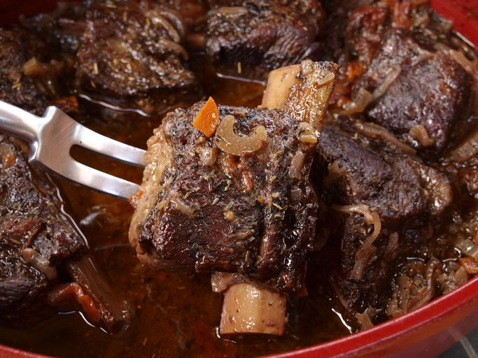 Tender short ribs of beef braised in red wine