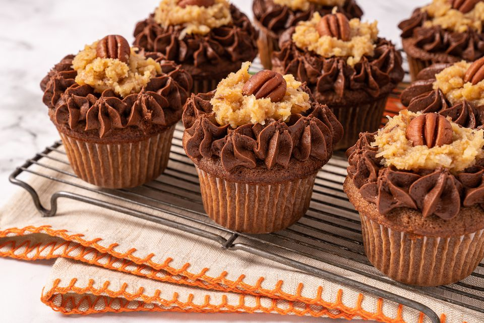 German Chocolate Cupcakes on a cooling rack