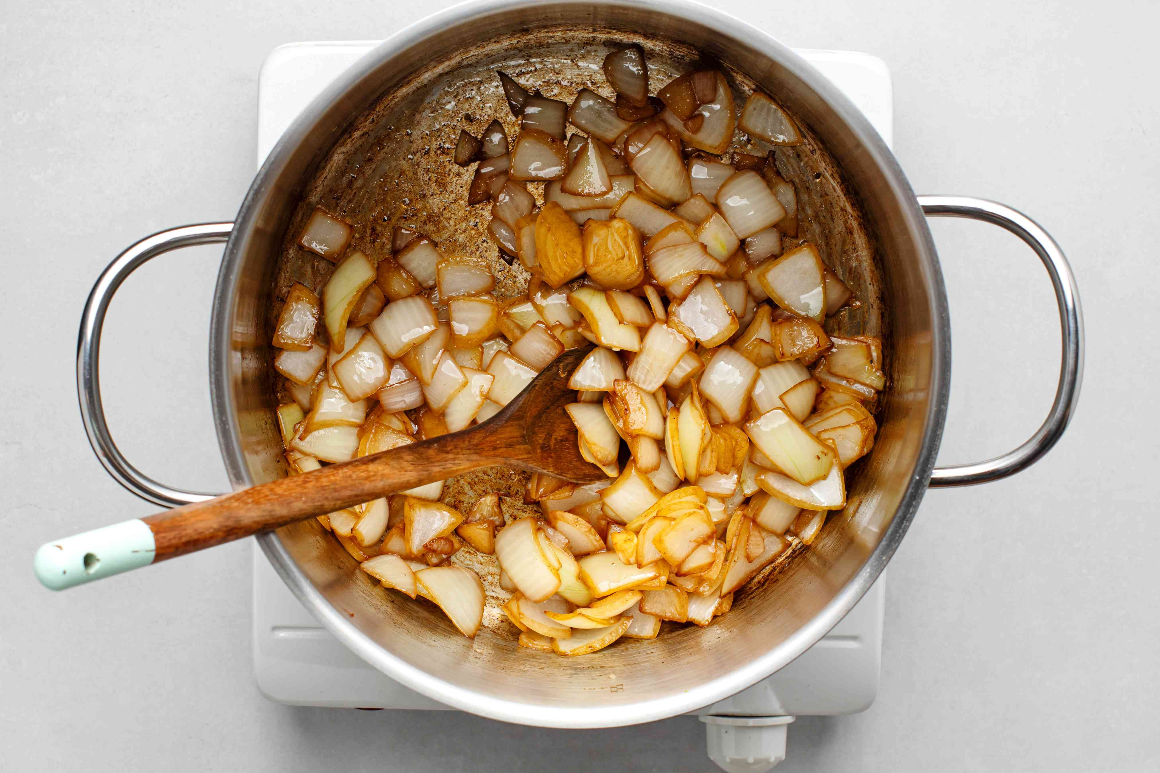 Onions added to the pot