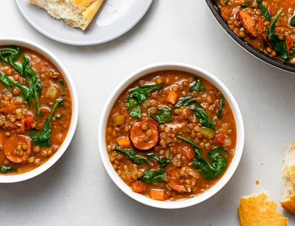 Lentil Soup With Spinach and Spicy Sausage