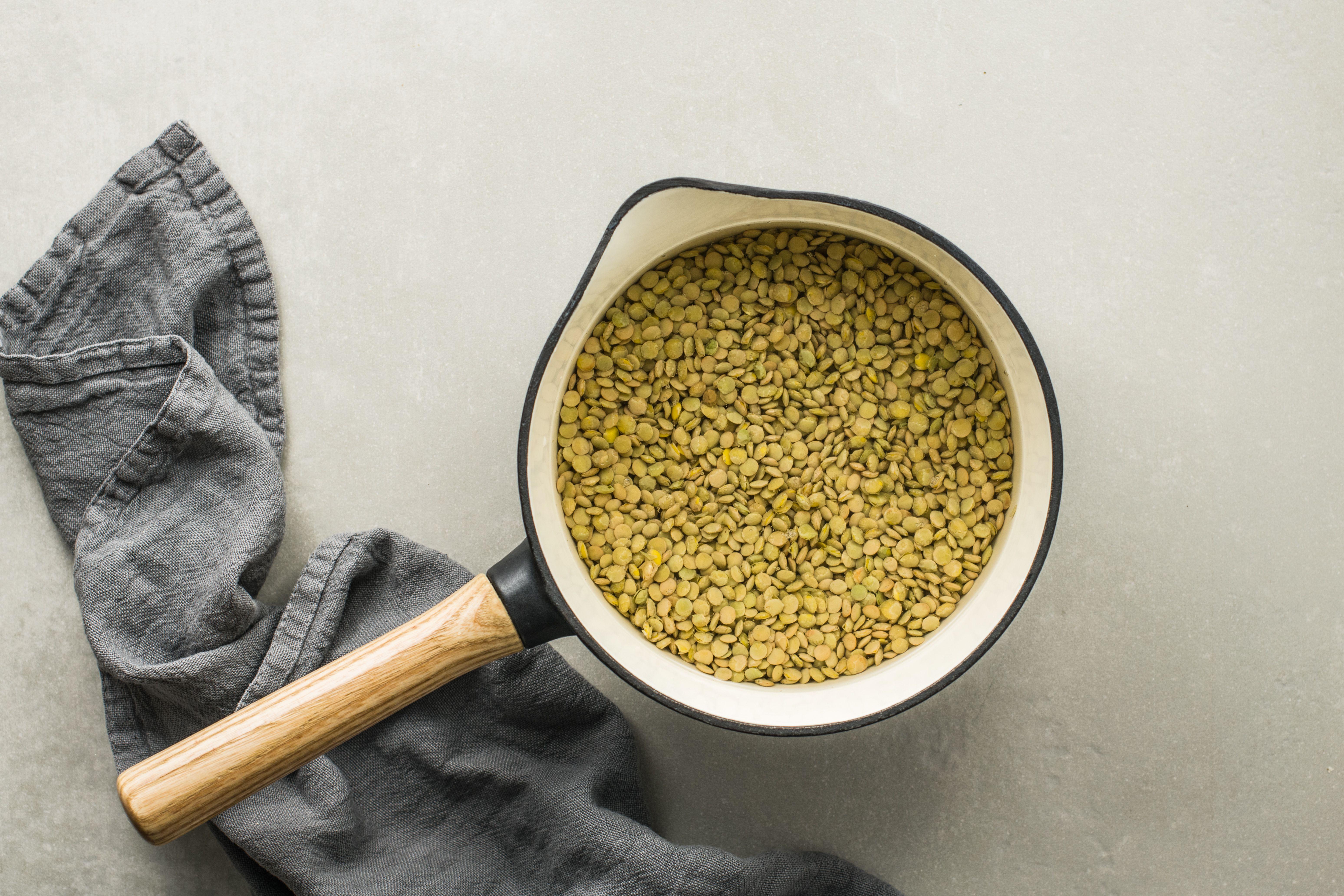 Lentils in pot