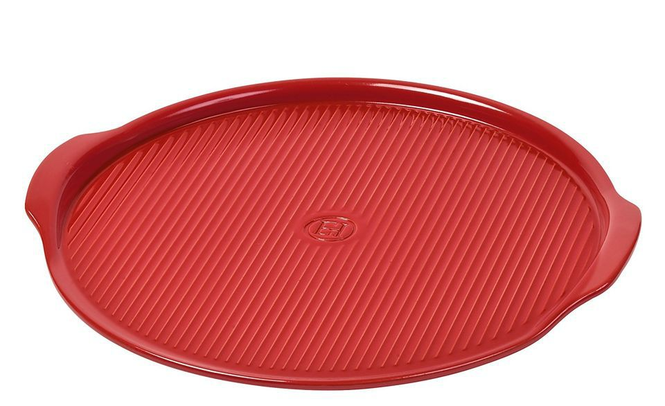 """Emile Henry Made In France Flame Pizza Stone, 14.6 x 14.6"""", Burgundy"""