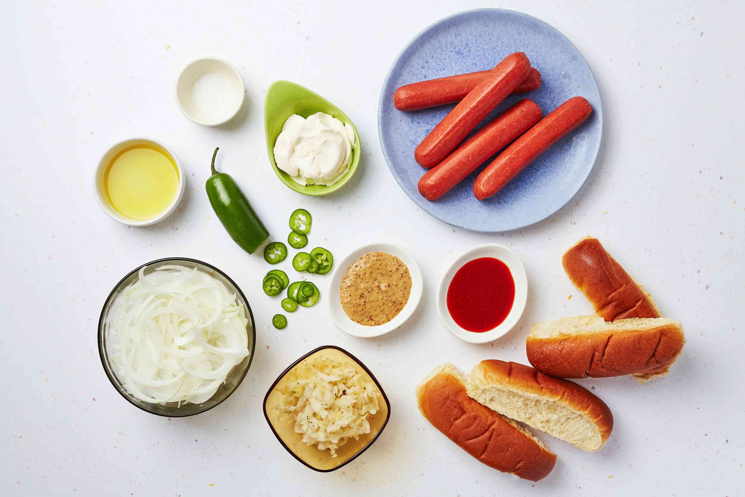 Ingredients for Seattle hot dogs