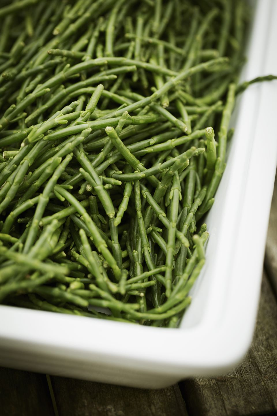 High angle view of a tray of samphire