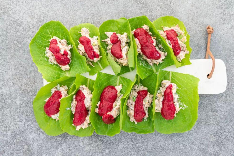 Leftover Turkey Salad Lettuce Wraps