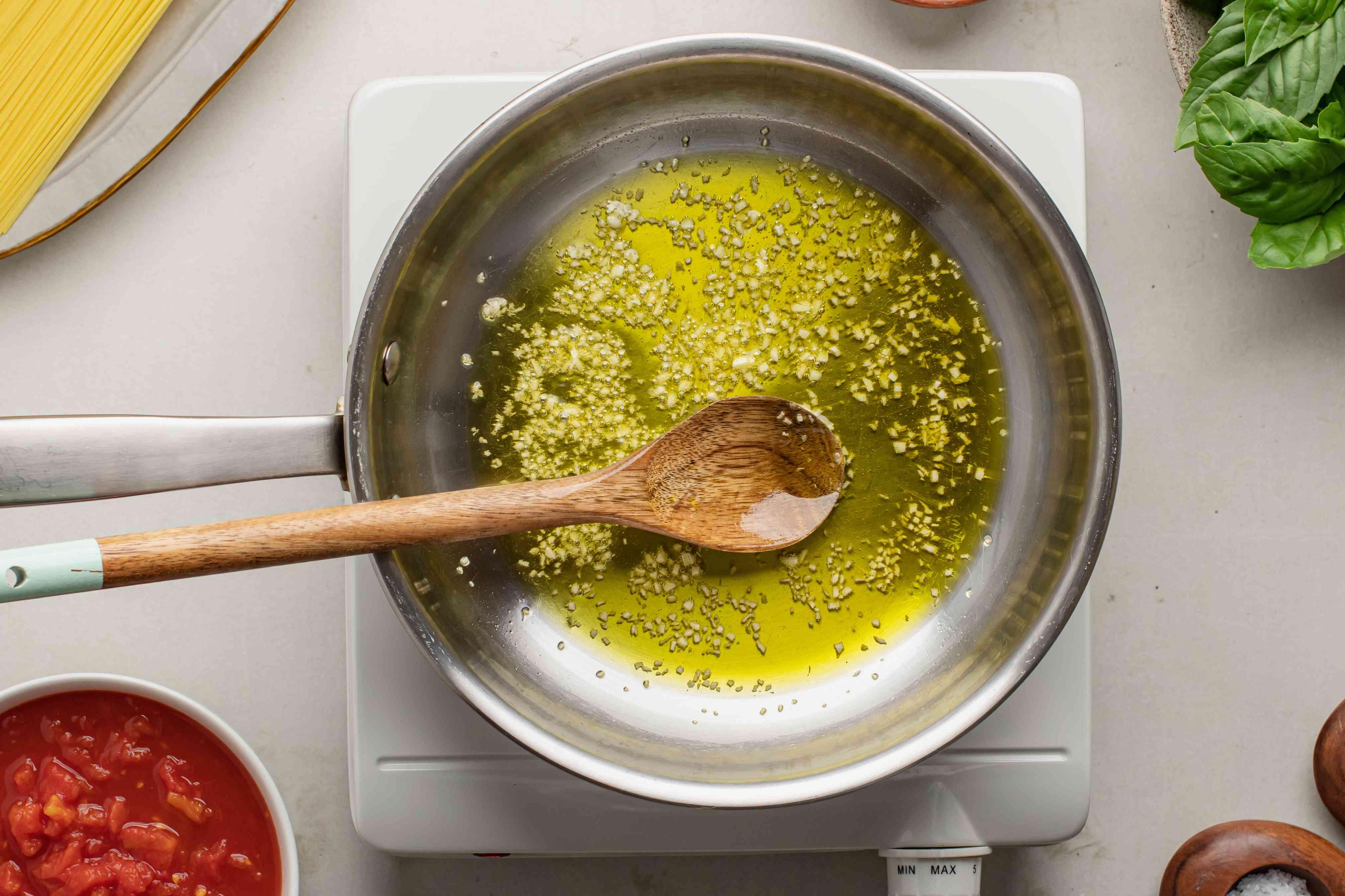 Garlic and oil in saute pan