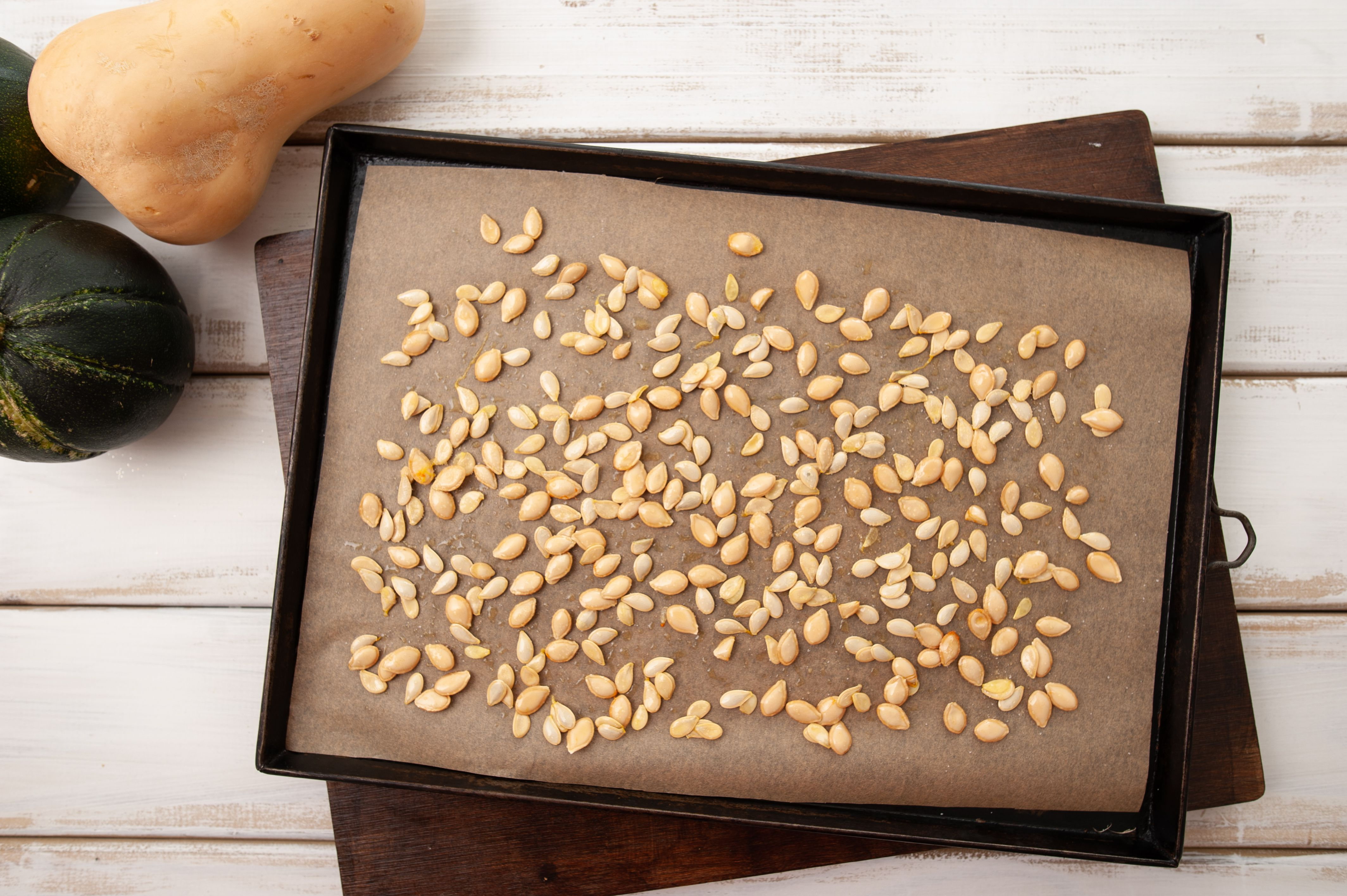 Seeds on a baking sheet