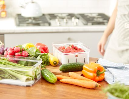 variety of fruits and vegetables in the idesign and spruce home organization containers available a lowe's