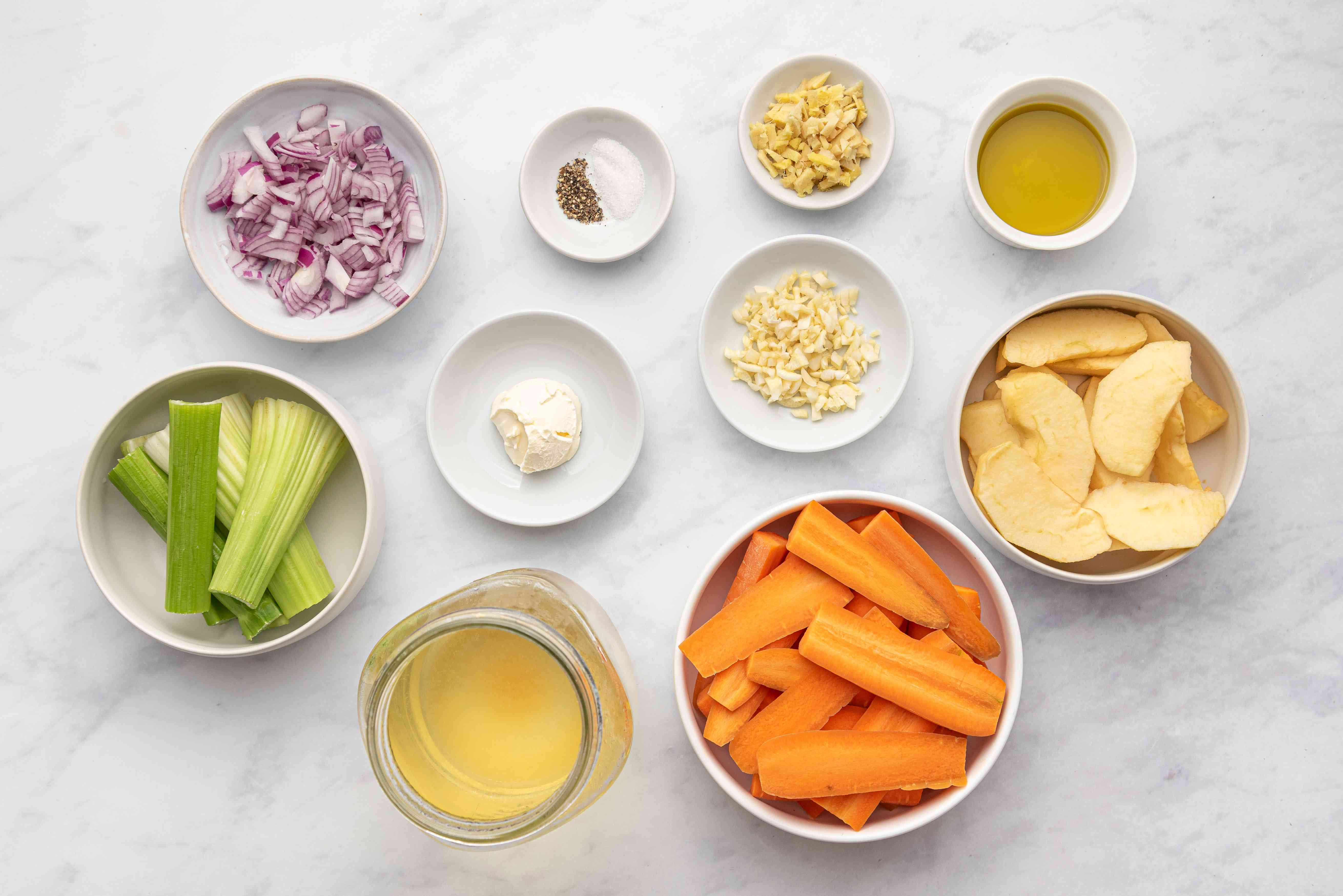 Roasted Carrot, Apple, and Celery Soup (Pareve or Dairy) ingredients