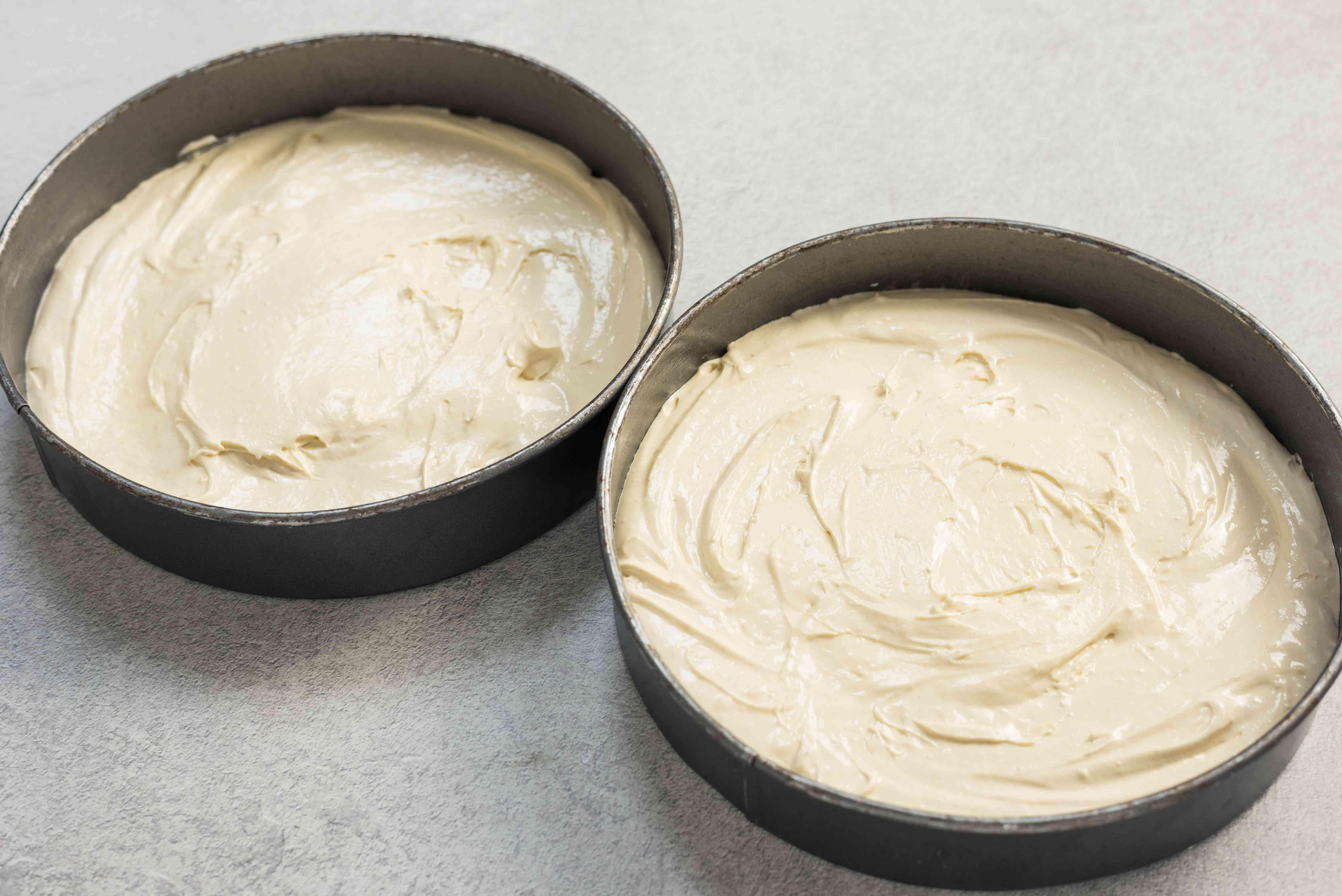 Pour batter into cake pan
