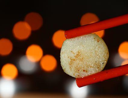 Chopsticks with water chestnut