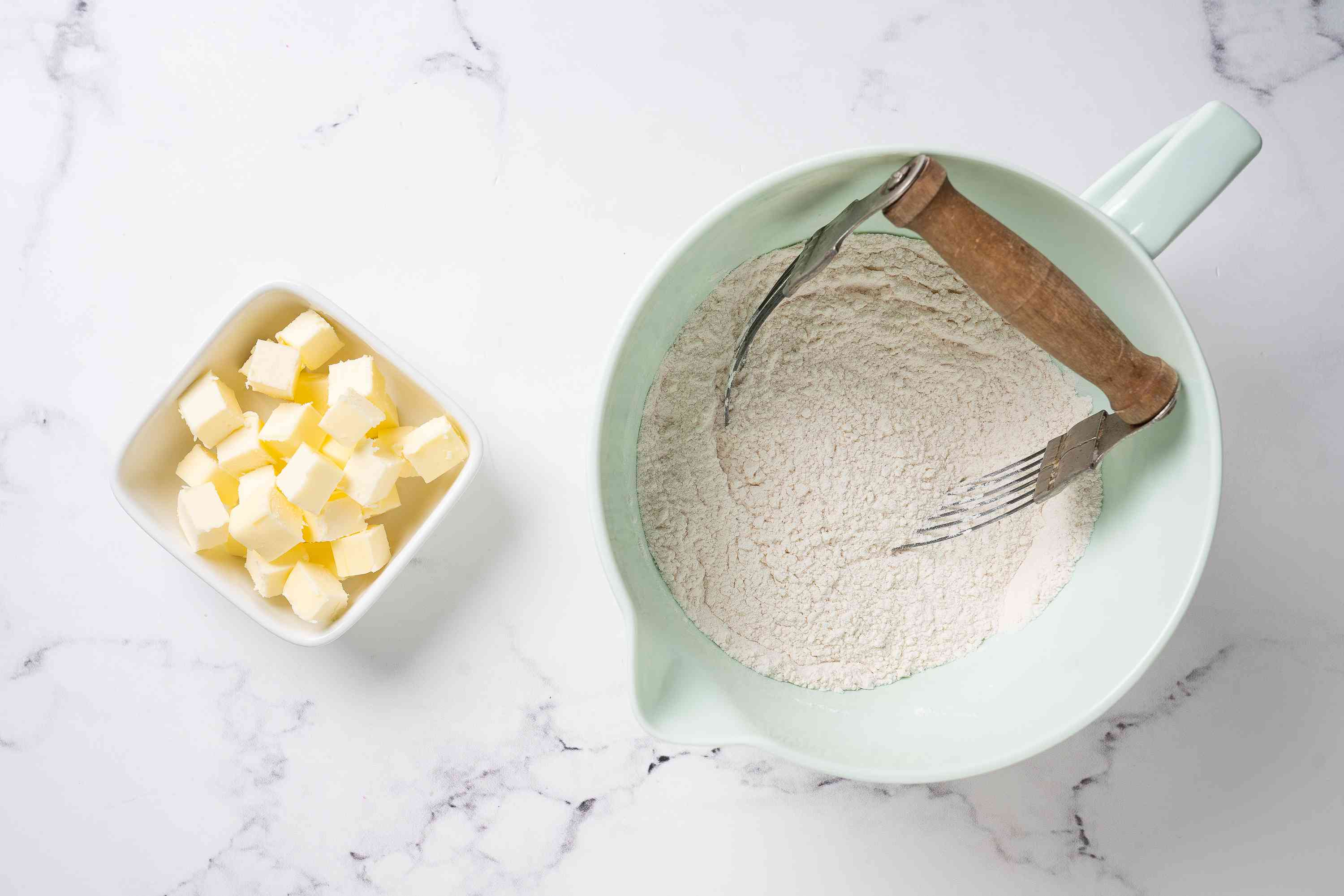 Flour and cold cubes of butter