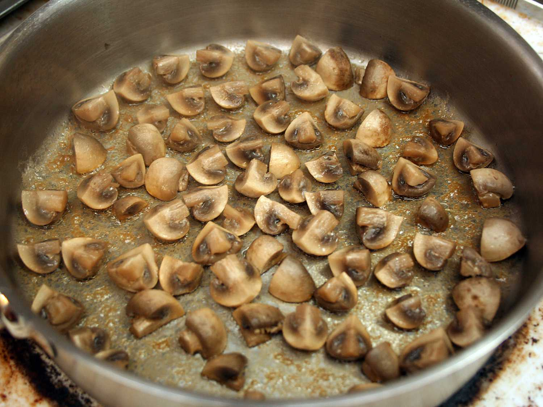 Browning the mushrooms