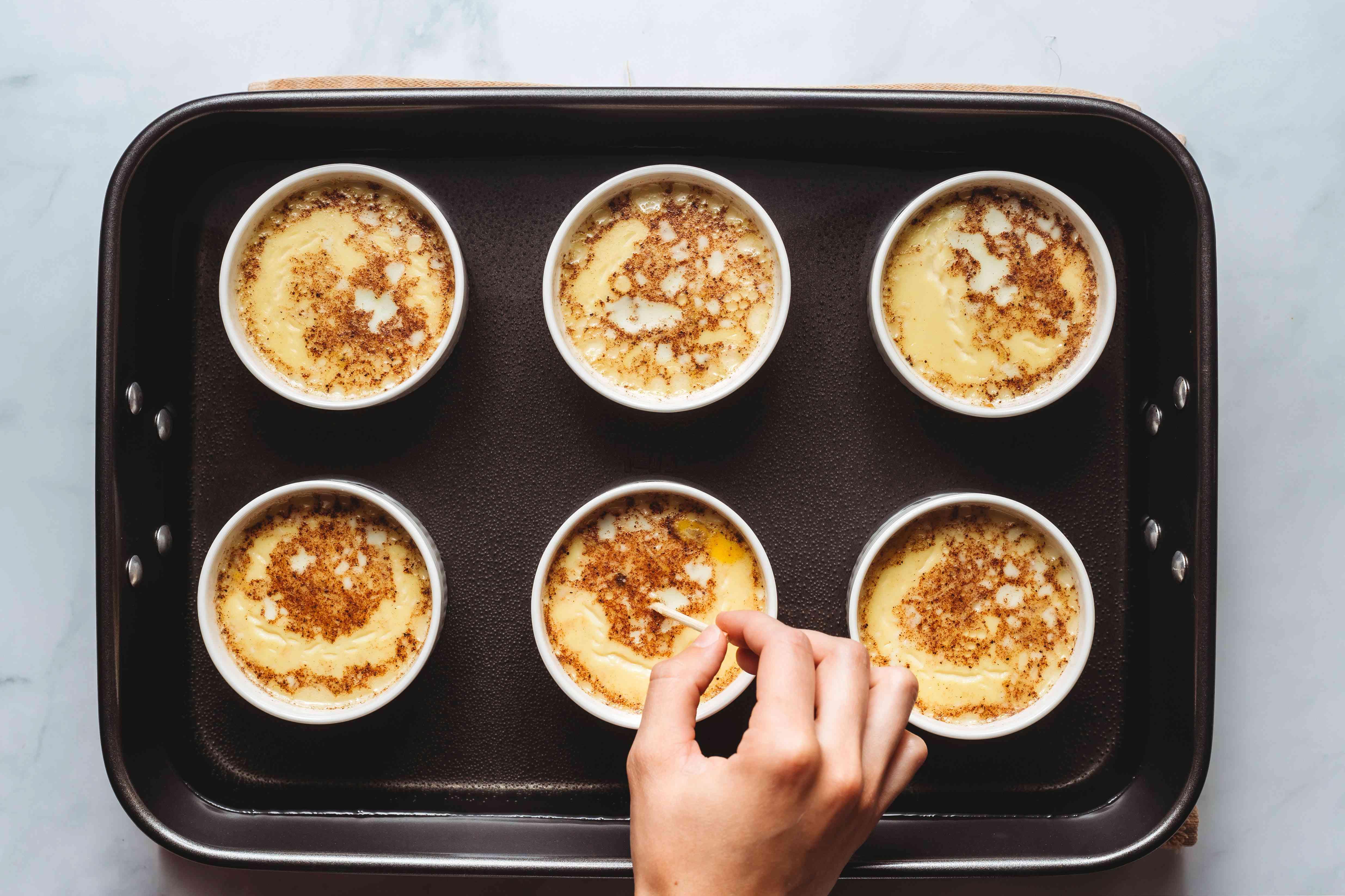 baked custard in ramekins