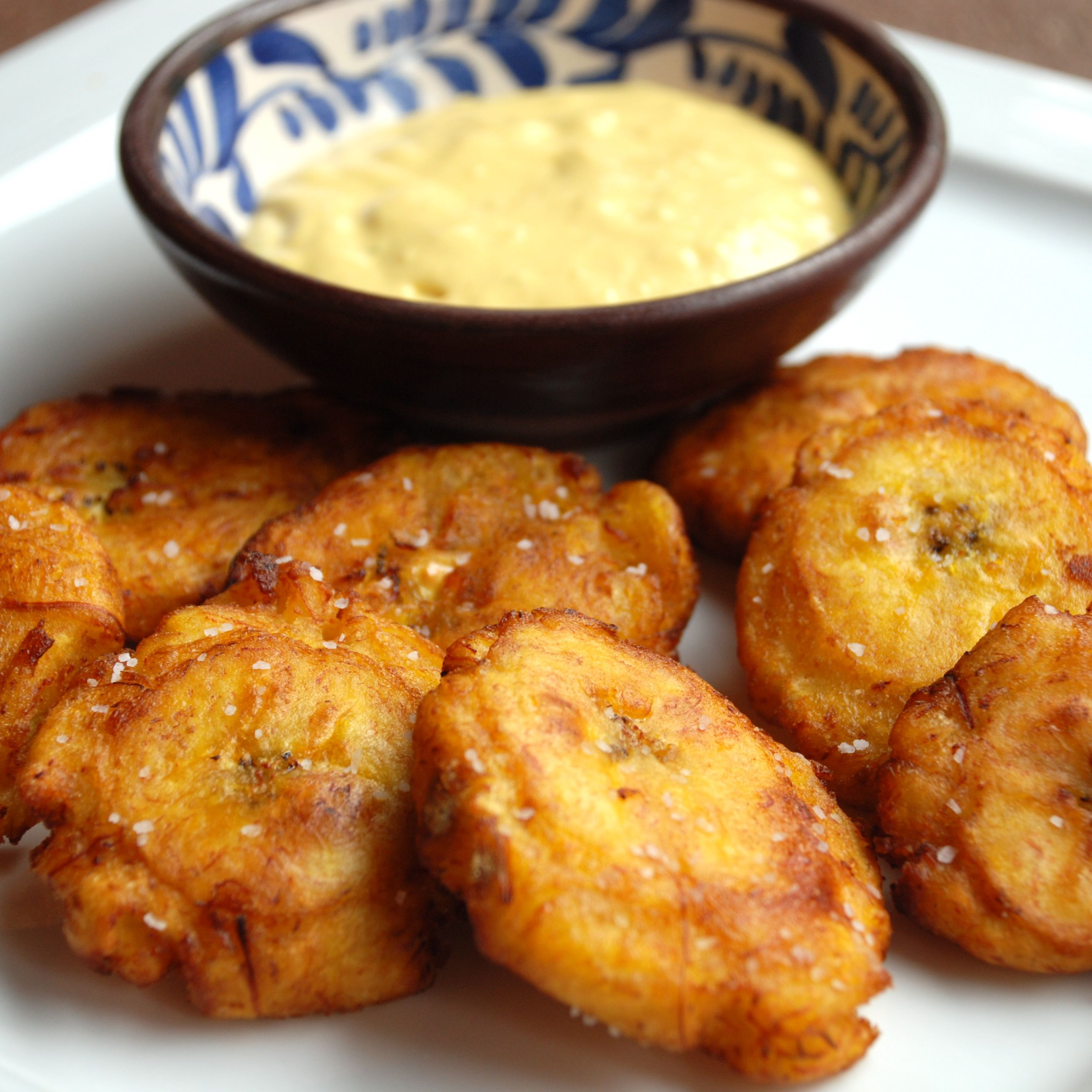 Patacones Recipe Twice Fried Plantain With Aji Sauce