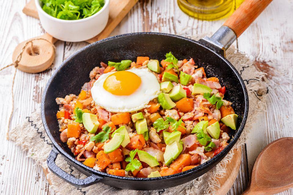 Turkey bacon and egg skillet