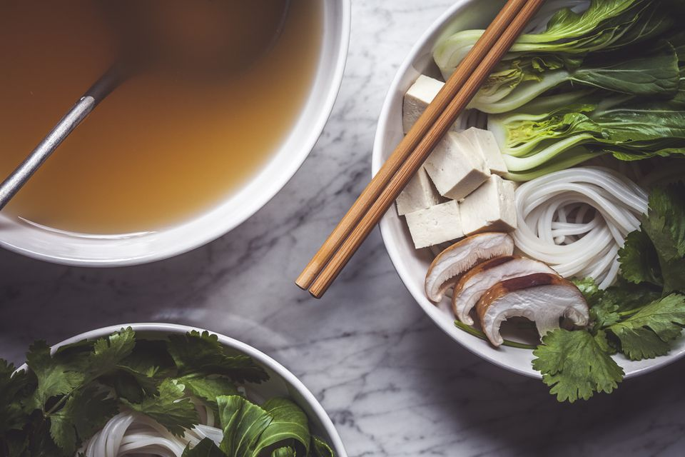 Pho Soup Prep with Chopsticks
