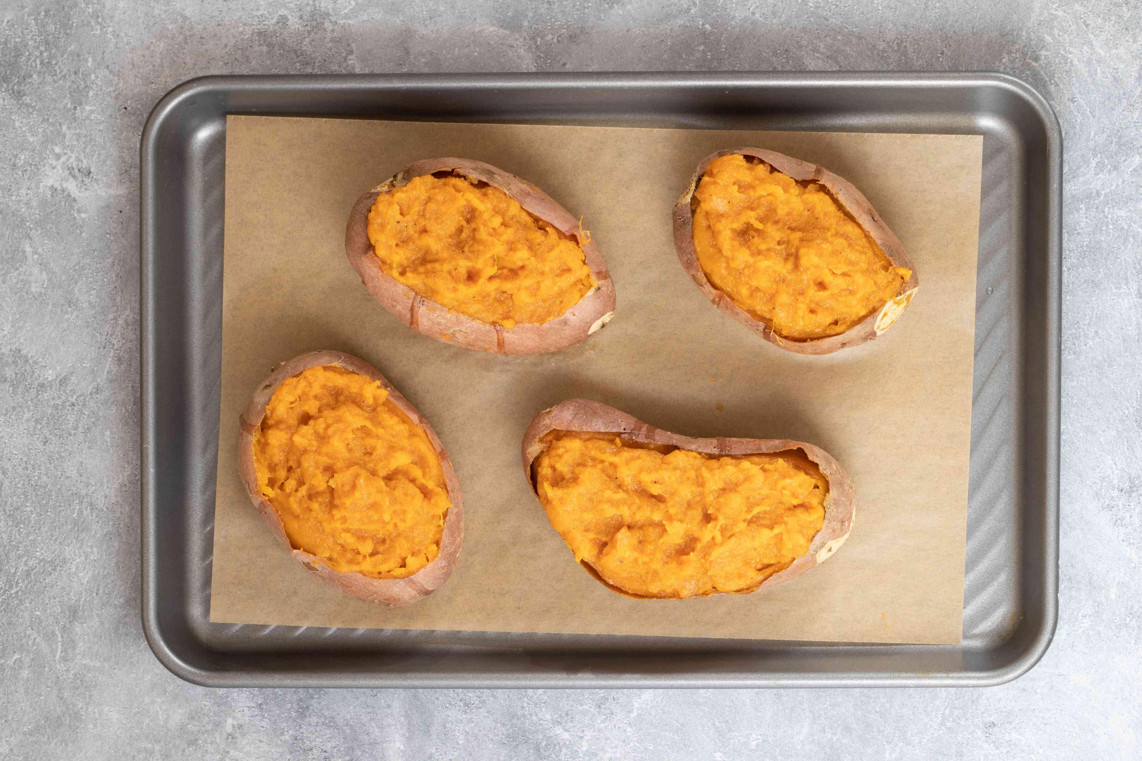 Sweet potato shells filled with mashed sweet potatoes