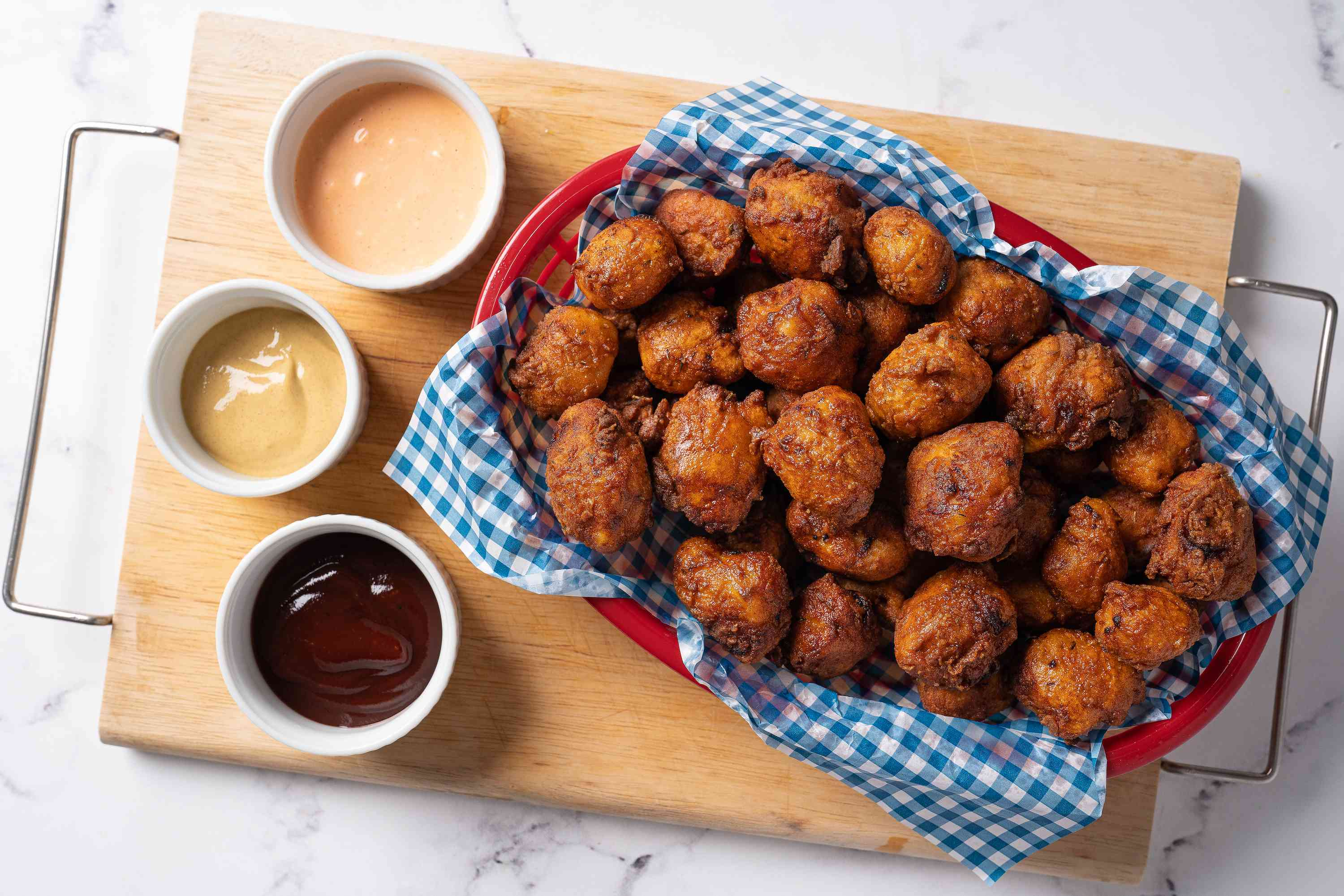 Popcorn chicken with dipping sauces