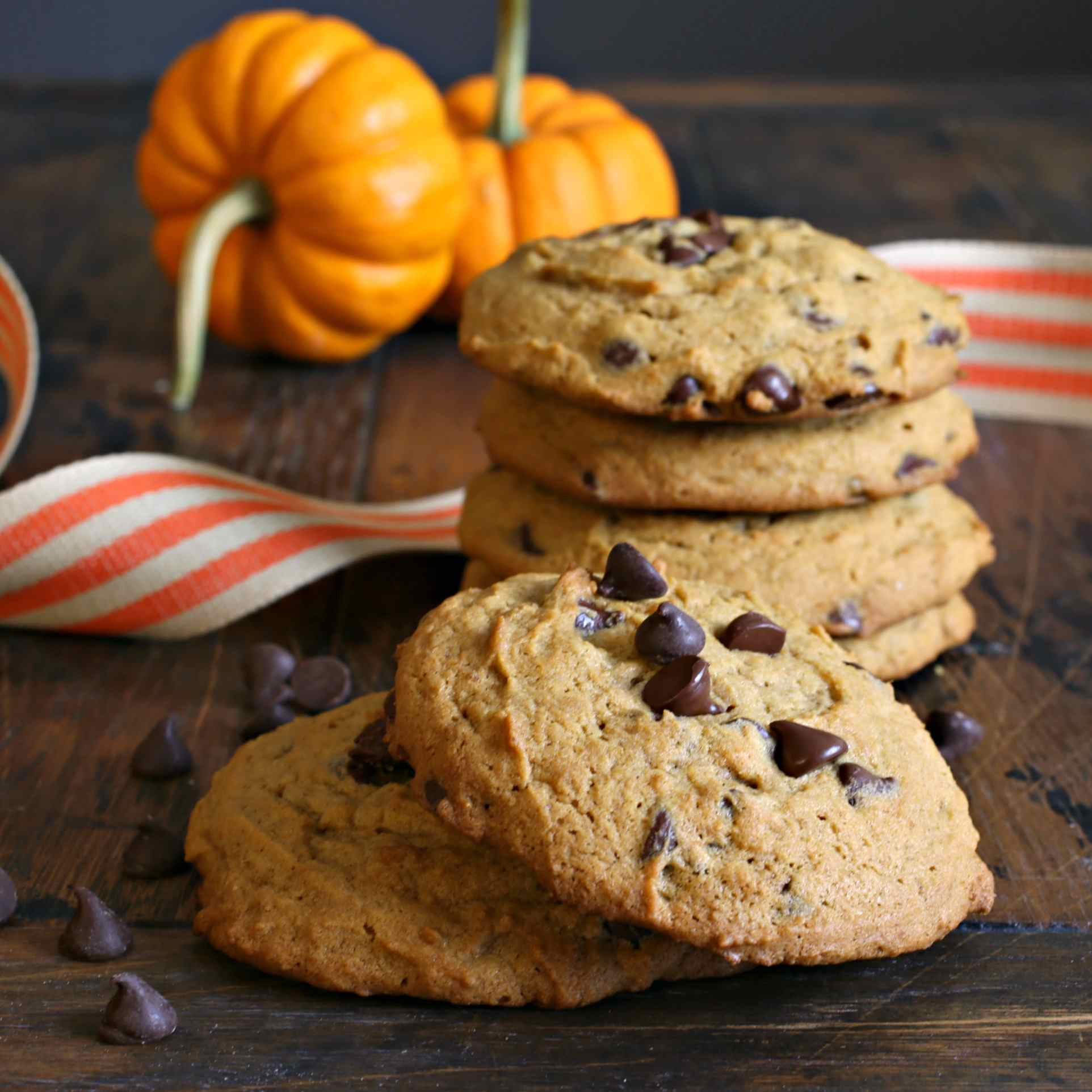 Pumpkin Chocolate Chip Tahini Cookies